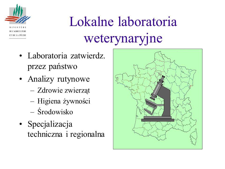 Laboratoria zatwierdz. przez państwo Analizy rutynowe –Zdrowie zwierząt –Higiena żywności –Środowisko Specjalizacja techniczna i regionalna