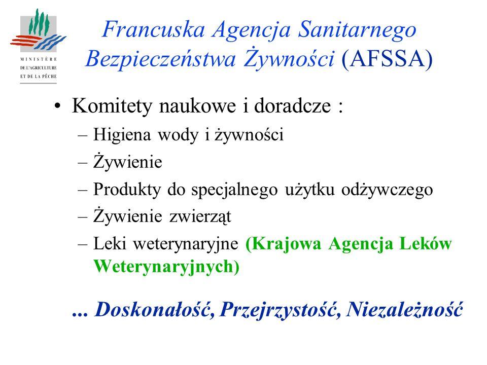 Francuska Agencja Sanitarnego Bezpieczeństwa Żywności (AFSSA) Komitety naukowe i doradcze : –Higiena wody i żywności –Żywienie –Produkty do specjalnego użytku odżywczego –Żywienie zwierząt –Leki weterynaryjne (Krajowa Agencja Leków Weterynaryjnych )...