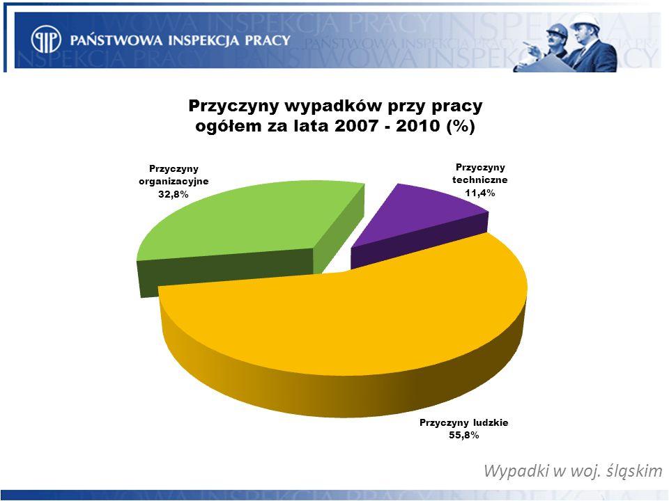 Wypadki w woj. śląskim Przyczyny wypadków przy pracy ogółem za lata 2007 - 2010 (%)