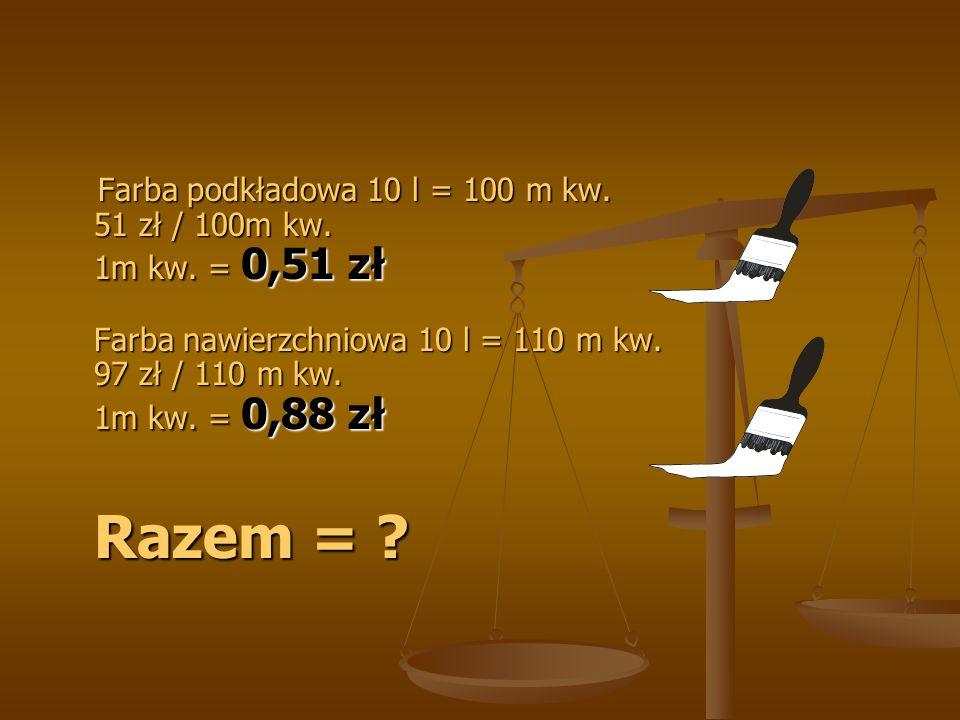 Farba podkładowa 10 l = 100 m kw. 51 zł / 100m kw.
