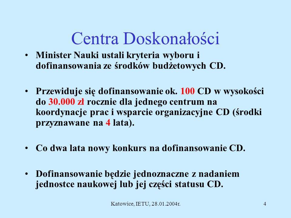 Katowice, IETU, 28.01.2004r.3 SOP Wzrost Konkurencyjności Przedsiębiorstw 1.4 - Wzmocnienie współpracy między sferą badawczo- rozwojową a gospodarką (dla CZT, CD, JBR na projekty badawcze i inwestycyjne -budowa i wyposażenie specjalistycznych laboratoriów) 2.1.3 - Wzrost konkurencyjności MŚP poprzez doradztwo związane z innowacjami i nowymi technologiami 2.3.4 - Wzrost konkurencyjności MŚP poprzez inwestycje (zakup wyników prac badawczo- rozwojowych)