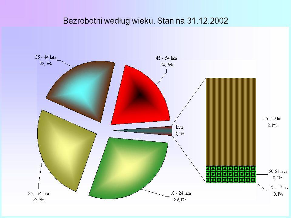 Bezrobotni według wieku. Stan na 31.12.2002