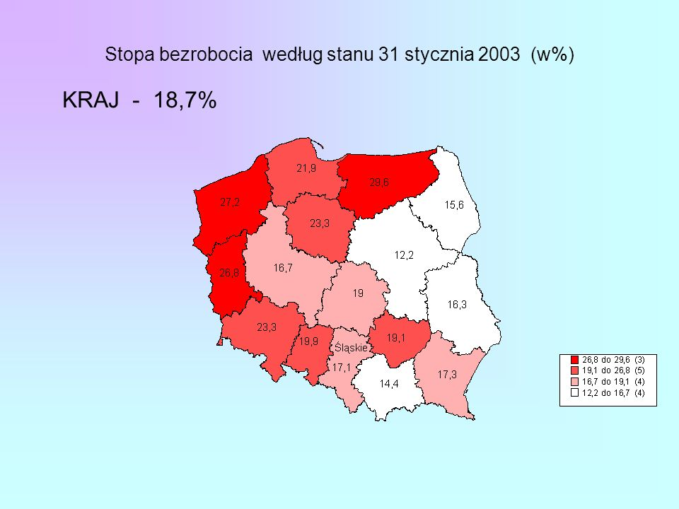 Stopa bezrobocia według stanu 31 stycznia 2003 (w%) KRAJ - 18,7%