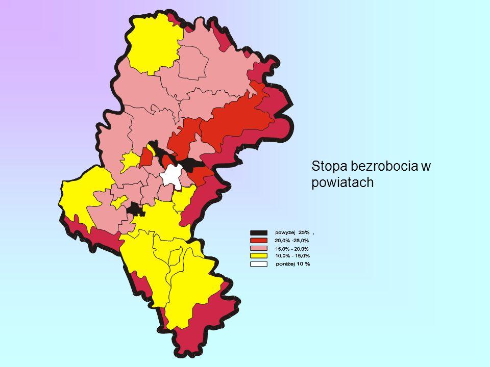 Stopa bezrobocia w powiatach województwa śląskiego Stan na 31.01. 2003