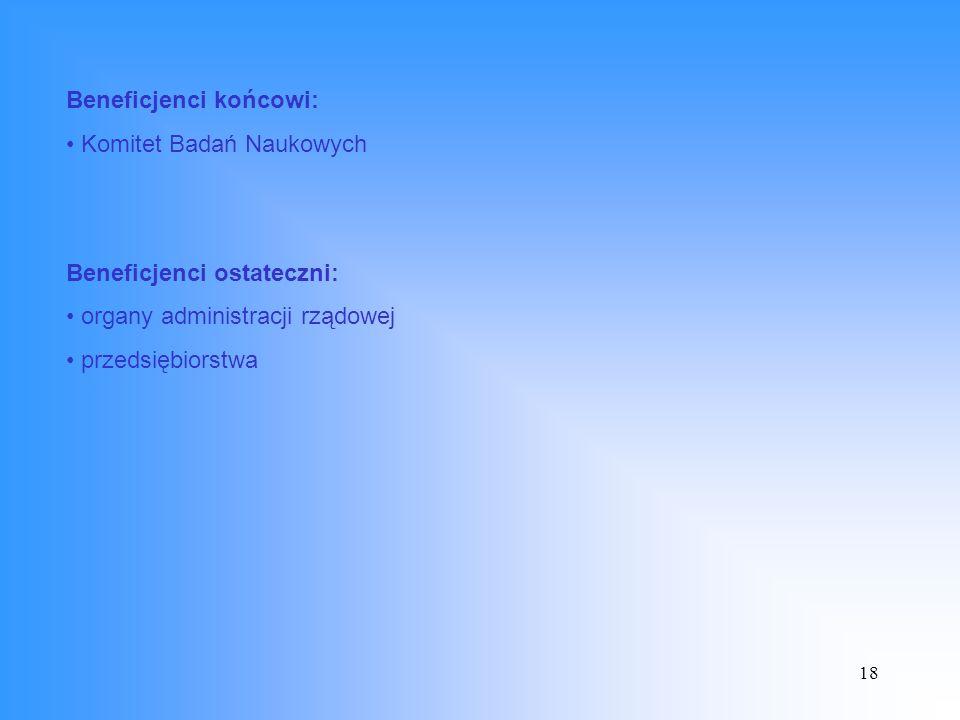 18 Beneficjenci końcowi: Komitet Badań Naukowych Beneficjenci ostateczni: organy administracji rządowej przedsiębiorstwa