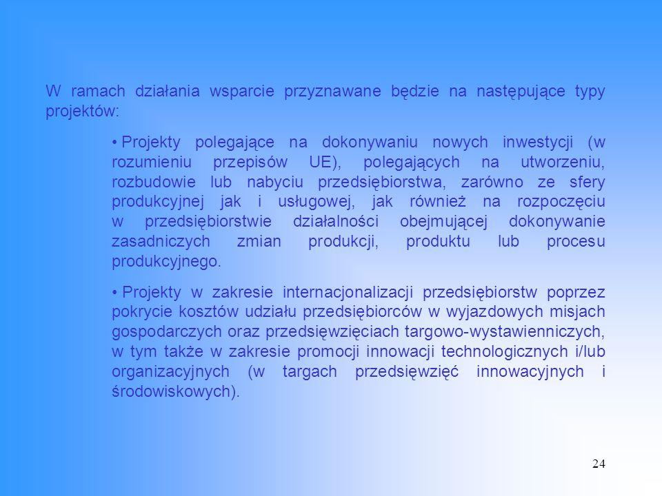 24 W ramach działania wsparcie przyznawane będzie na następujące typy projektów: Projekty polegające na dokonywaniu nowych inwestycji (w rozumieniu przepisów UE), polegających na utworzeniu, rozbudowie lub nabyciu przedsiębiorstwa, zarówno ze sfery produkcyjnej jak i usługowej, jak również na rozpoczęciu w przedsiębiorstwie działalności obejmującej dokonywanie zasadniczych zmian produkcji, produktu lub procesu produkcyjnego.
