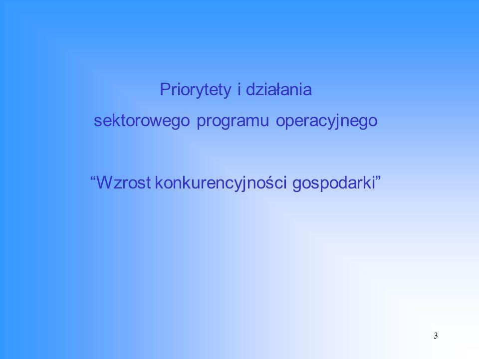 3 Priorytety i działania sektorowego programu operacyjnego Wzrost konkurencyjności gospodarki