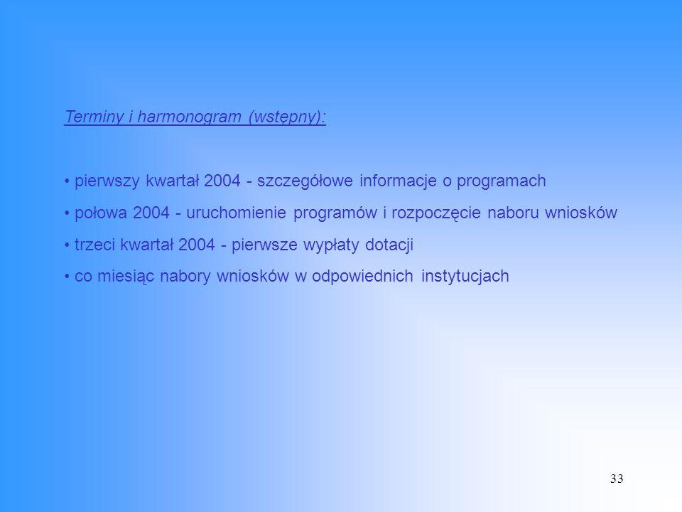 33 Terminy i harmonogram (wstępny): pierwszy kwartał 2004 - szczegółowe informacje o programach połowa 2004 - uruchomienie programów i rozpoczęcie naboru wniosków trzeci kwartał 2004 - pierwsze wypłaty dotacji co miesiąc nabory wniosków w odpowiednich instytucjach
