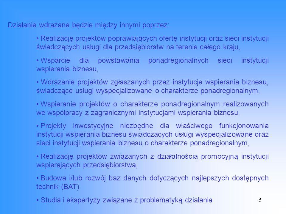 6 Beneficjenci końcowi: Polska Agencja Rozwoju Przedsiębiorczości Beneficjenci ostateczni: Instytucje wsparcia biznesu i ich sieci.