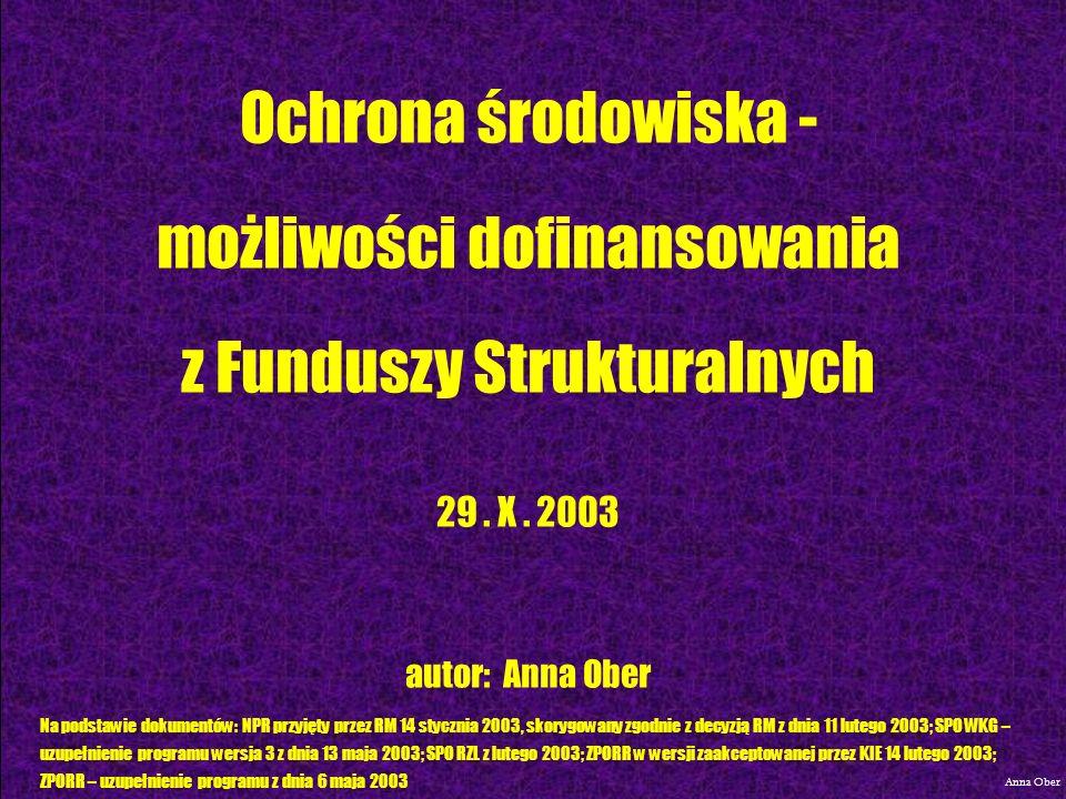 ZINTEGROWANY PROGRAM OPERACYJNY ROZWOJU REGIONALNEGO Anna Ober