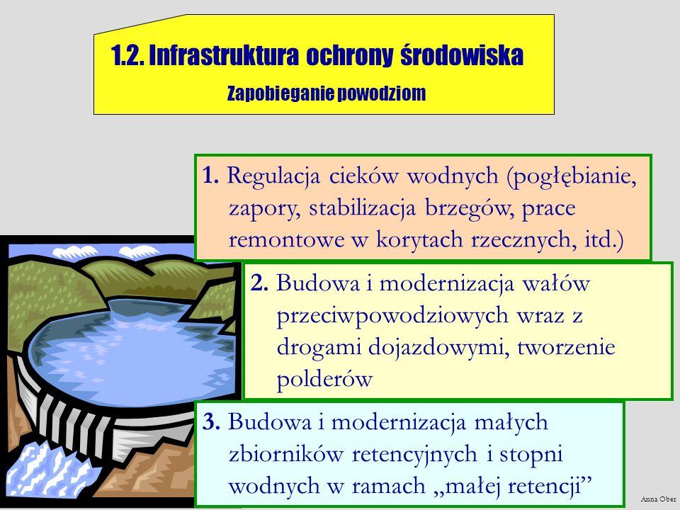 Anna Ober 1.2. Infrastruktura ochrony środowiska Zapobieganie powodziom 2. Budowa i modernizacja wałów przeciwpowodziowych wraz z drogami dojazdowymi,