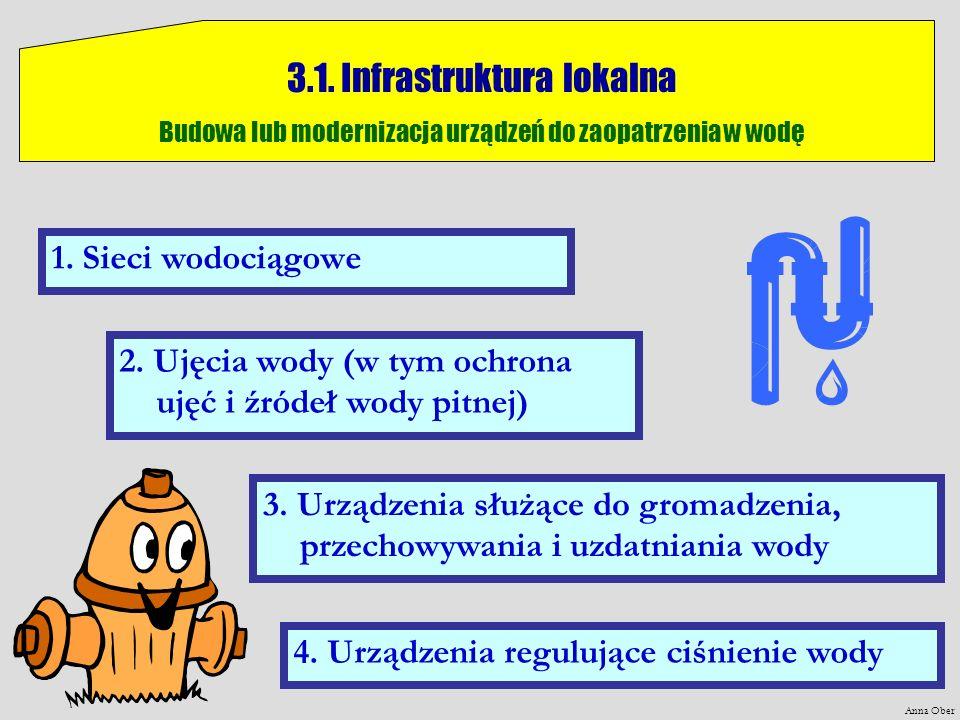 Anna Ober 3.1. Infrastruktura lokalna Budowa lub modernizacja urządzeń do zaopatrzenia w wodę 1. Sieci wodociągowe 2. Ujęcia wody (w tym ochrona ujęć