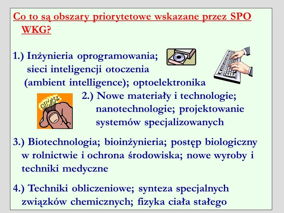 Co to są obszary priorytetowe wskazane przez SPO WKG? 1.) Inżynieria oprogramowania; sieci inteligencji otoczenia (ambient intelligence); optoelektron
