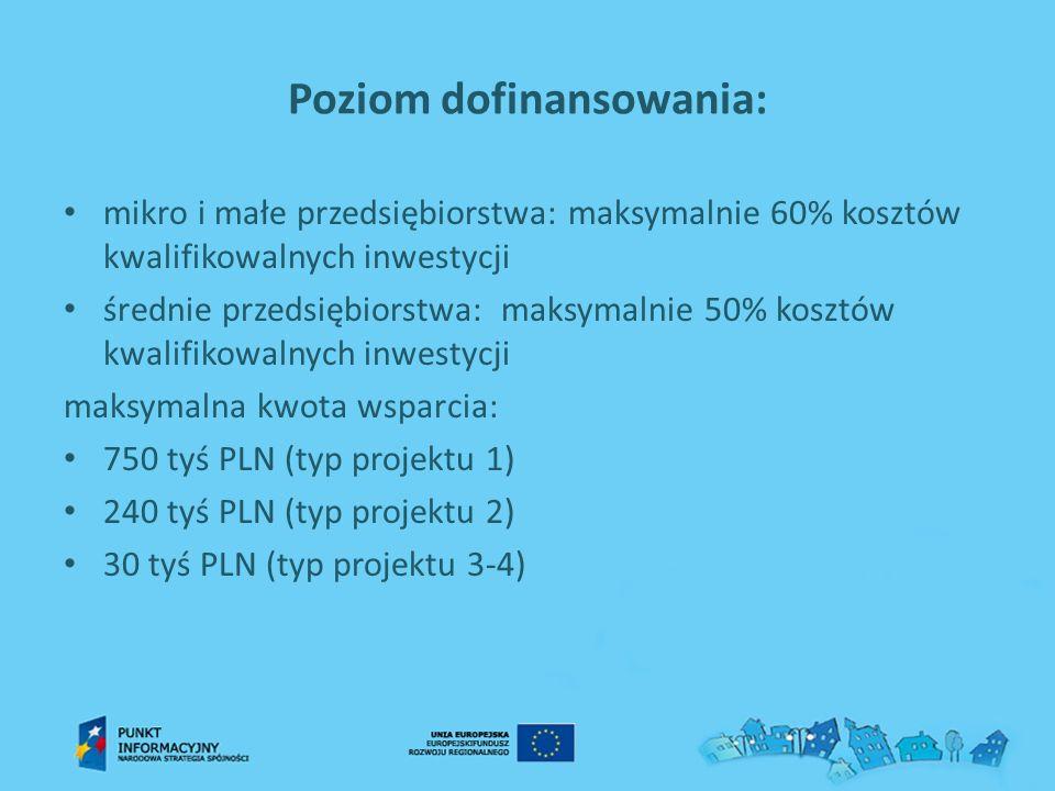 Poziom dofinansowania: mikro i małe przedsiębiorstwa: maksymalnie 60% kosztów kwalifikowalnych inwestycji średnie przedsiębiorstwa: maksymalnie 50% ko