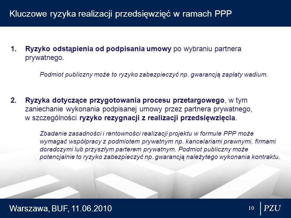 Warszawa, BUF, 11.06.2010 10 Kluczowe ryzyka realizacji przedsięwzięć w ramach PPP 1.Ryzyko odstąpienia od podpisania umowy po wybraniu partnera prywa