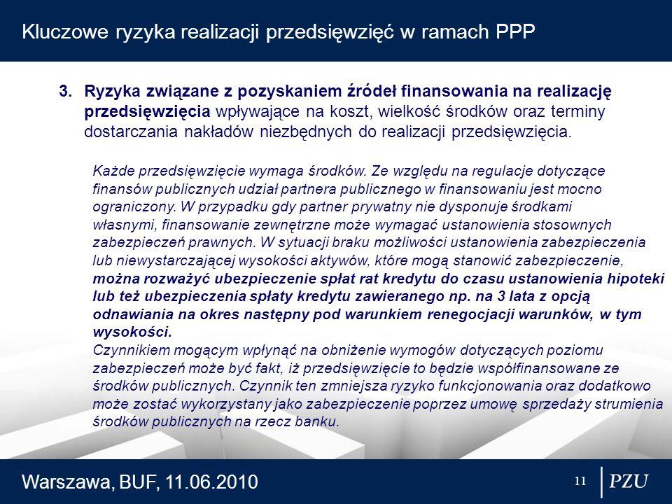 Warszawa, BUF, 11.06.2010 11 Kluczowe ryzyka realizacji przedsięwzięć w ramach PPP 3.Ryzyka związane z pozyskaniem źródeł finansowania na realizację p