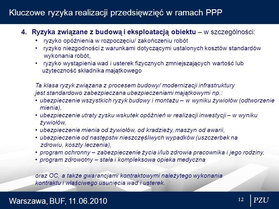 Warszawa, BUF, 11.06.2010 12 Kluczowe ryzyka realizacji przedsięwzięć w ramach PPP 4.Ryzyka związane z budową i eksploatacją obiektu – w szczególności