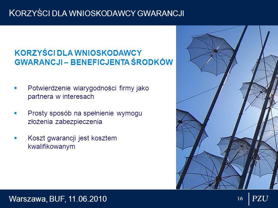 Warszawa, BUF, 11.06.2010 16 K ORZYŚCI DLA WNIOSKODAWCY GWARANCJI Potwierdzenie wiarygodności firmy jako partnera w interesach Prosty sposób na spełni