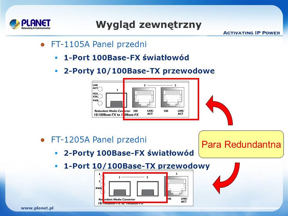 www.planet.pl FT-1105A Panel przedni 1-Port 100Base-FX światłowód 2-Porty 10/100Base-TX przewodowe FT-1205A Panel przedni 2-Porty 100Base-FX światłowód 1-Port 10/100Base-TX przewodowy Wygląd zewnętrzny Para Redundantna