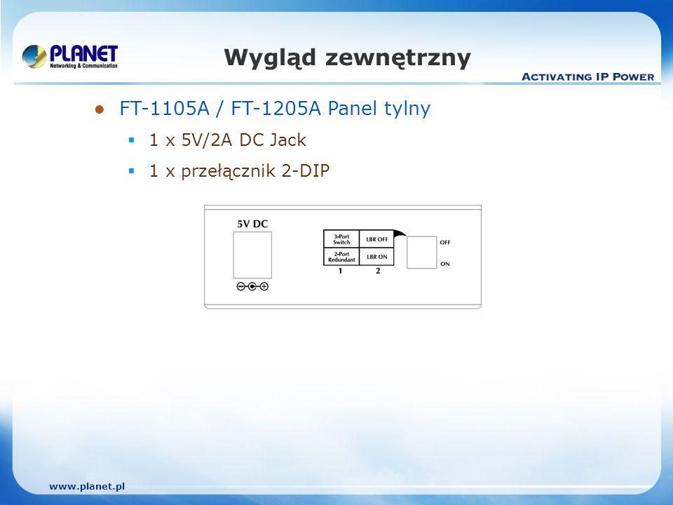 www.planet.pl FT-1105A / FT-1205A Panel tylny 1 x 5V/2A DC Jack 1 x przełącznik 2-DIP Wygląd zewnętrzny