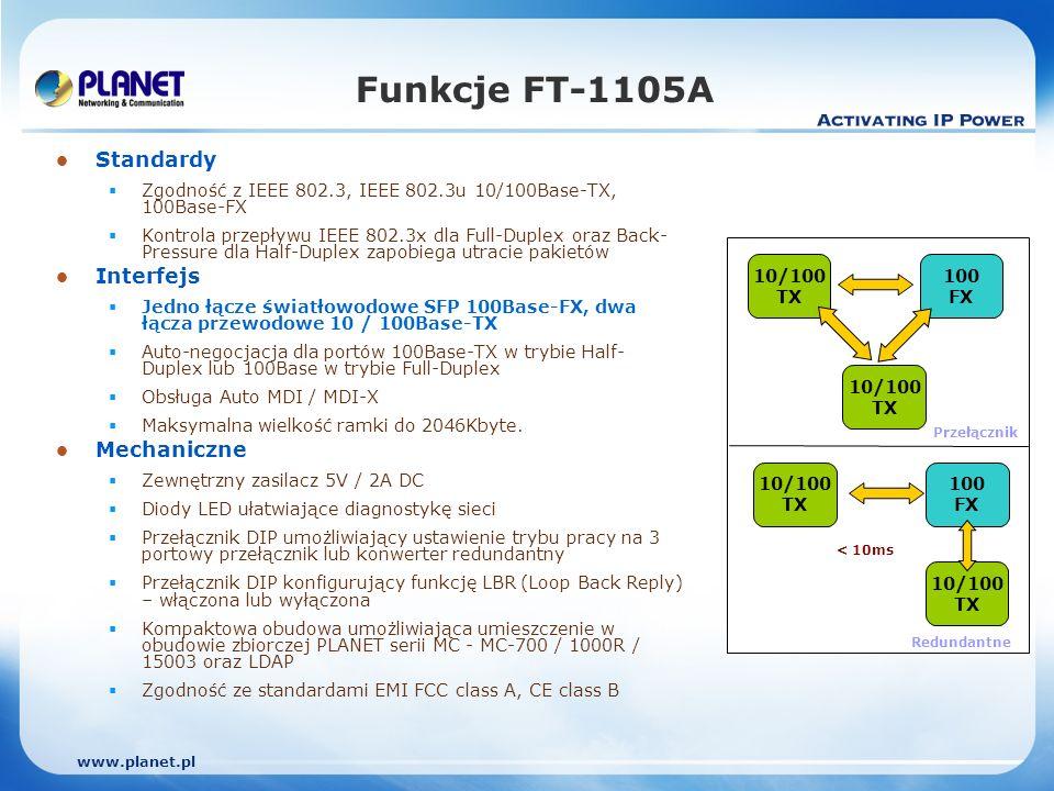 www.planet.pl Funkcje FT-1105A Standardy Zgodność z IEEE 802.3, IEEE 802.3u 10/100Base-TX, 100Base-FX Kontrola przepływu IEEE 802.3x dla Full-Duplex oraz Back- Pressure dla Half-Duplex zapobiega utracie pakietów Interfejs Jedno łącze światłowodowe SFP 100Base-FX, dwa łącza przewodowe 10 / 100Base-TX Auto-negocjacja dla portów 100Base-TX w trybie Half- Duplex lub 100Base w trybie Full-Duplex Obsługa Auto MDI / MDI-X Maksymalna wielkość ramki do 2046Kbyte.