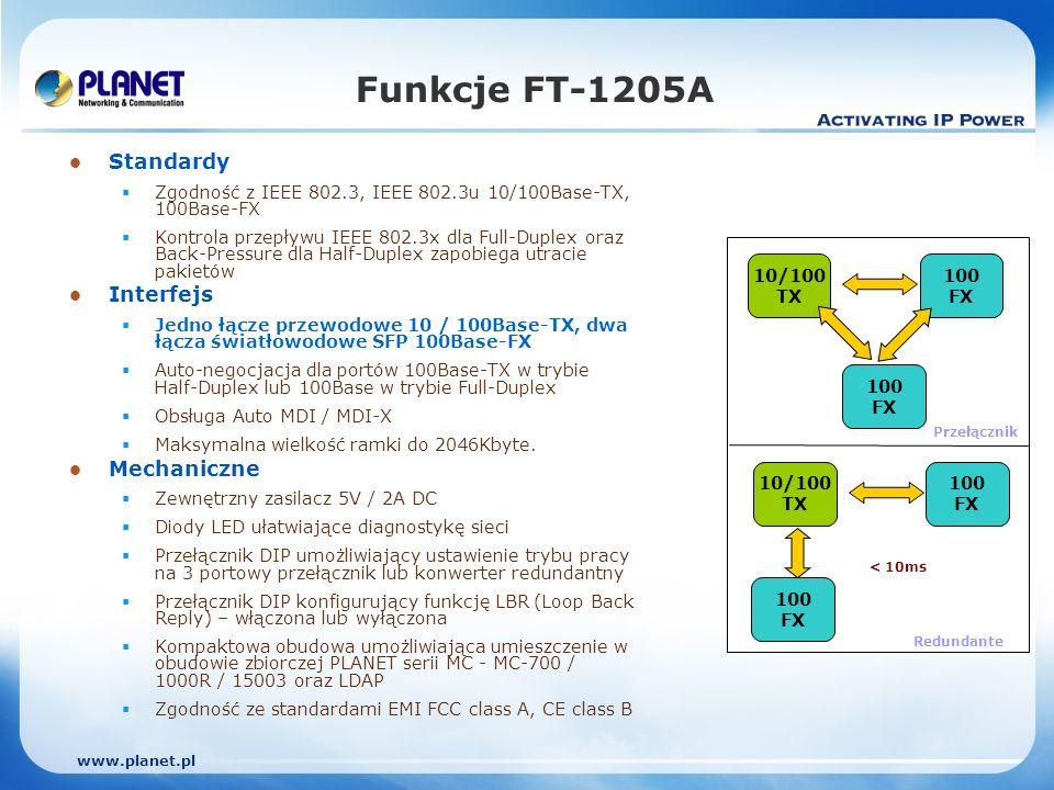 www.planet.pl Funkcje Redundantne Automatyczna detekcja stanu połączenia dla portów redundantnych z tym samym typem łącza Tylko podstawowy port jest aktywny podczas normalnej pracy, port zapasowy jest zablokowany Gdy pojawia się awaria łącza dla portu podstawowego, ruch jest automatycznie przełączany na port zapasowy Jeśli status portu podstawowego wskazuje na normalną pracę, ruch jest przełączany z powrotem z portu zapasowego na podstawowy Sprzętowe przełączanie trwa krócej niż 10 ms.