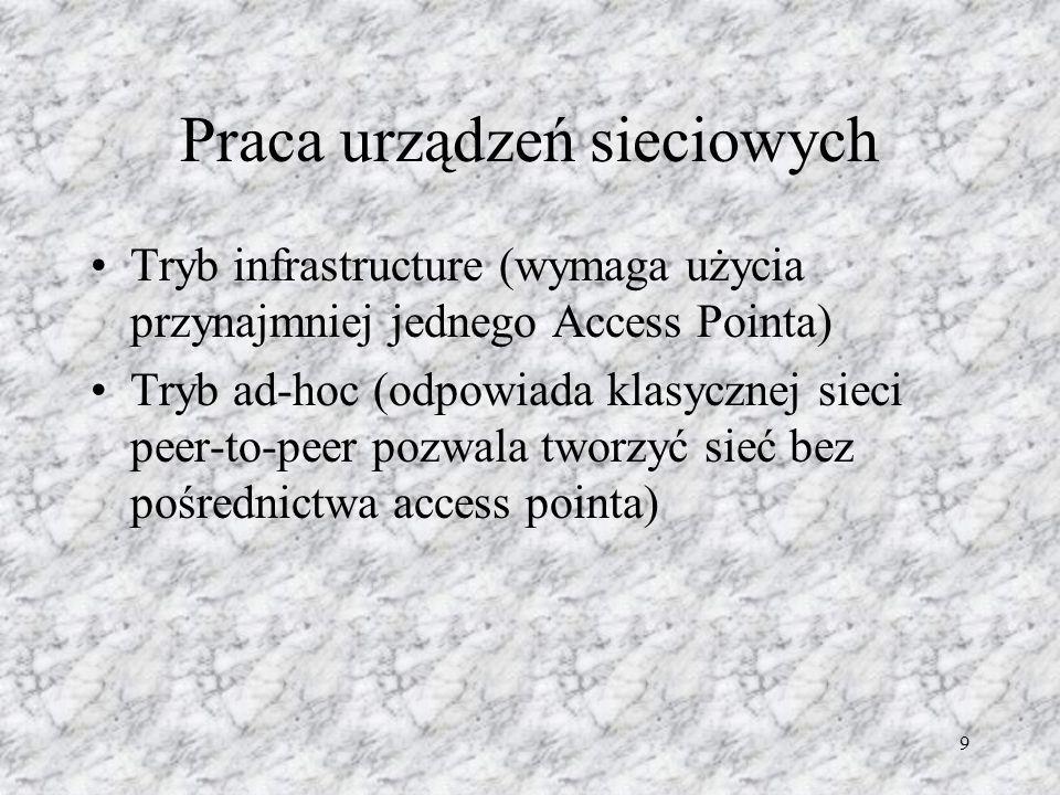 9 Praca urządzeń sieciowych Tryb infrastructure (wymaga użycia przynajmniej jednego Access Pointa) Tryb ad-hoc (odpowiada klasycznej sieci peer-to-pee