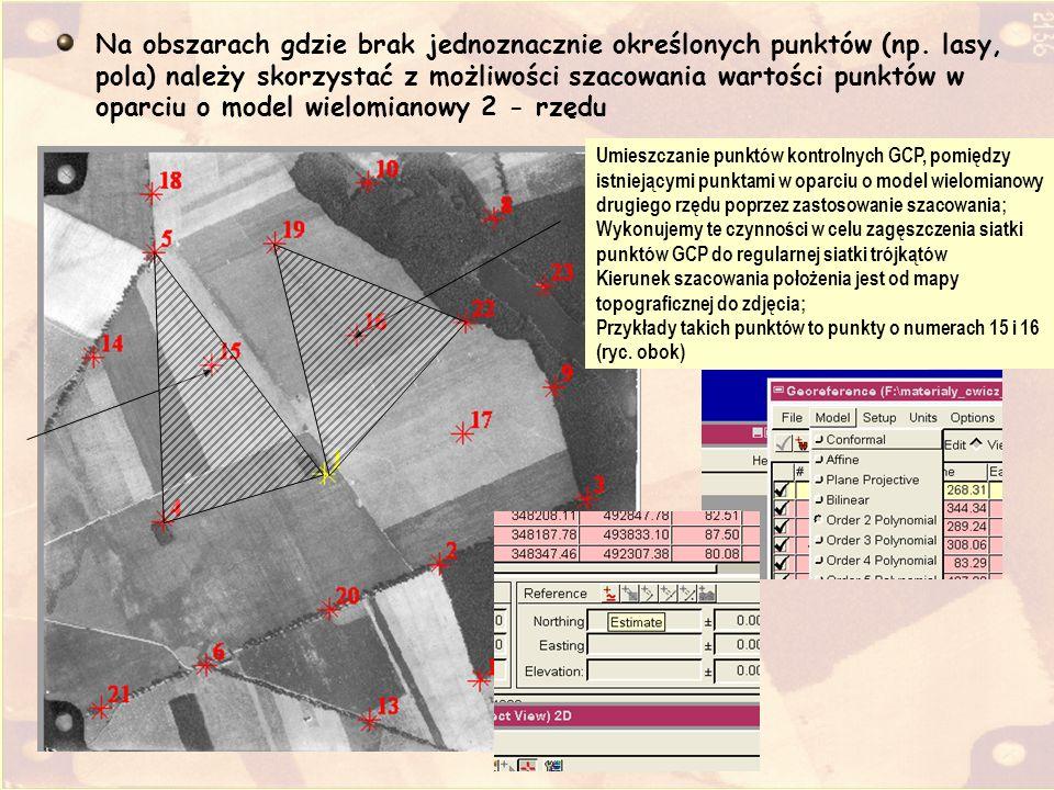 Umieszczanie punktów kontrolnych GCP, pomiędzy istniejącymi punktami w oparciu o model wielomianowy drugiego rzędu poprzez zastosowanie szacowania; Wy
