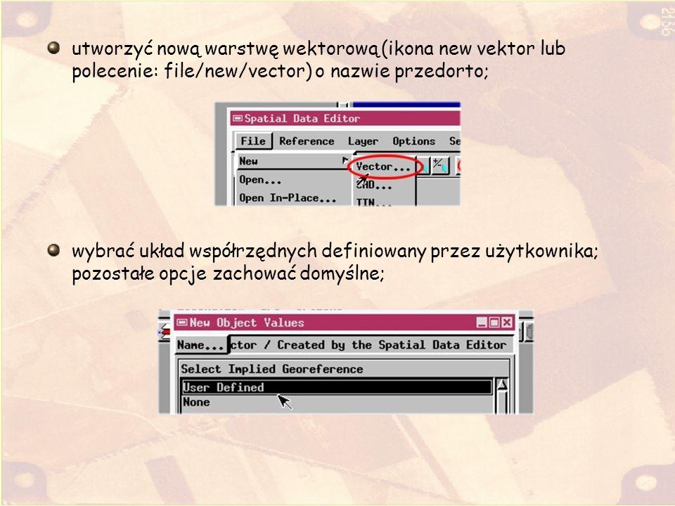 utworzyć nową warstwę wektorową (ikona new vektor lub polecenie: file/new/vector) o nazwie przedorto; wybrać układ współrzędnych definiowany przez uży