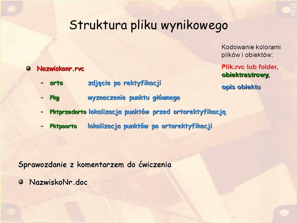 Struktura pliku wynikowego Nazwiskonr.rvc –orto zdjęcie po rektyfikacji –Pkg wyznaczenie punktu głównego –Pktprzedorto lokalizacja punktów przed ortor