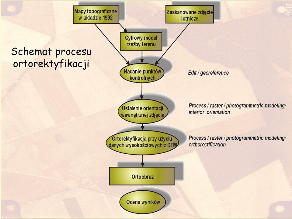 Struktura pliku wynikowego Nazwiskonr.rvc –orto zdjęcie po rektyfikacji –Pkg wyznaczenie punktu głównego –Pktprzedorto lokalizacja punktów przed ortorektyfikacją –Pktpoorto lokalizacja punktów po ortorektyfikacji Kodowanie kolorami plików i obiektów: obiektrastrowy, Plik.rvc lub folder, obiektrastrowy, opis obiektu Sprawozdanie z komentarzem do ćwiczenia NazwiskoNr.doc
