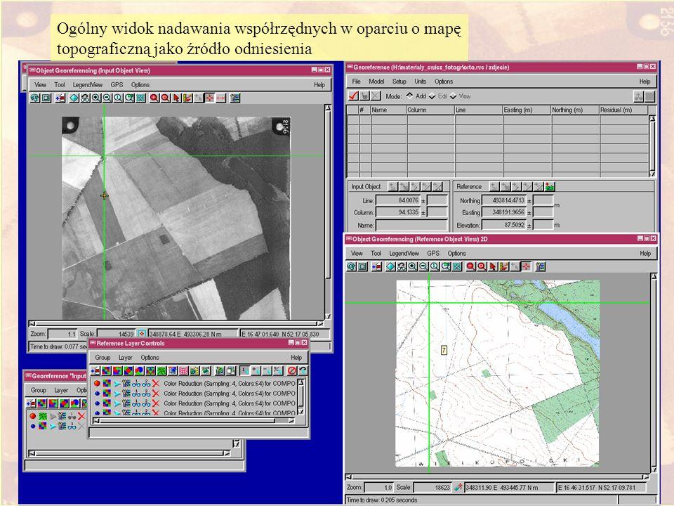 Wprowadzenie DEM i map topograficznej Ogólny widok nadawania współrzędnych w oparciu o mapę topograficzną jako źródło odniesienia