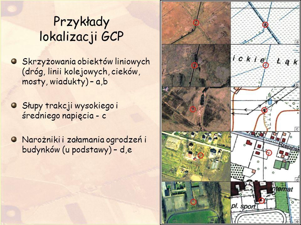 Umieszczanie punktów kontrolnych GCP, pomiędzy istniejącymi punktami w oparciu o model wielomianowy drugiego rzędu poprzez zastosowanie szacowania; Wykonujemy te czynności w celu zagęszczenia siatki punktów GCP do regularnej siatki trójkątów Kierunek szacowania położenia jest od mapy topograficznej do zdjęcia; Przykłady takich punktów to punkty o numerach 15 i 16 (ryc.