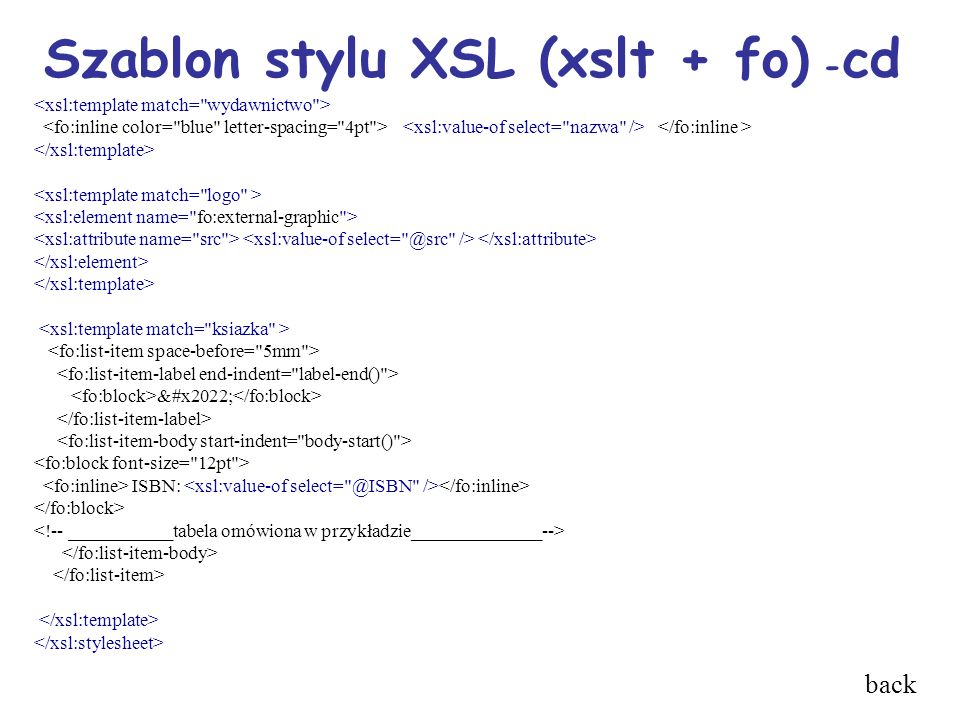 Szablon stylu XSL (xslt + fo) - cd • ISBN: back