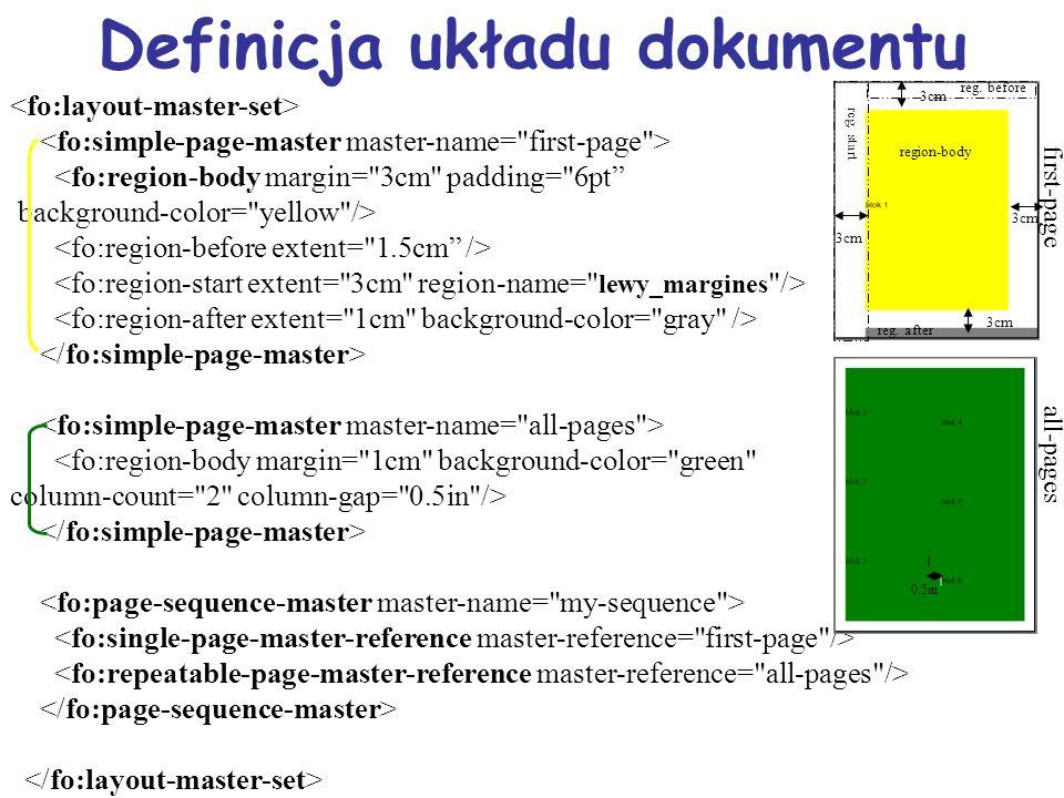 Definicja układu dokumentu <fo:region-body margin= 3cm padding= 6pt background-color= yellow /> <fo:region-body margin= 1cm background-color= green column-count= 2 column-gap= 0.5in /> first-page all-pages 3cm region-body reg.