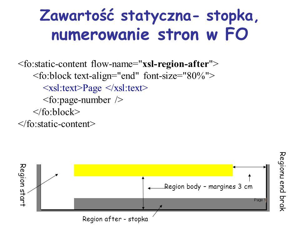 Zawartość statyczna- stopka, n umerowanie stron w FO Page Region start Region after - stopka Regionu end brak Region body – margines 3 cm