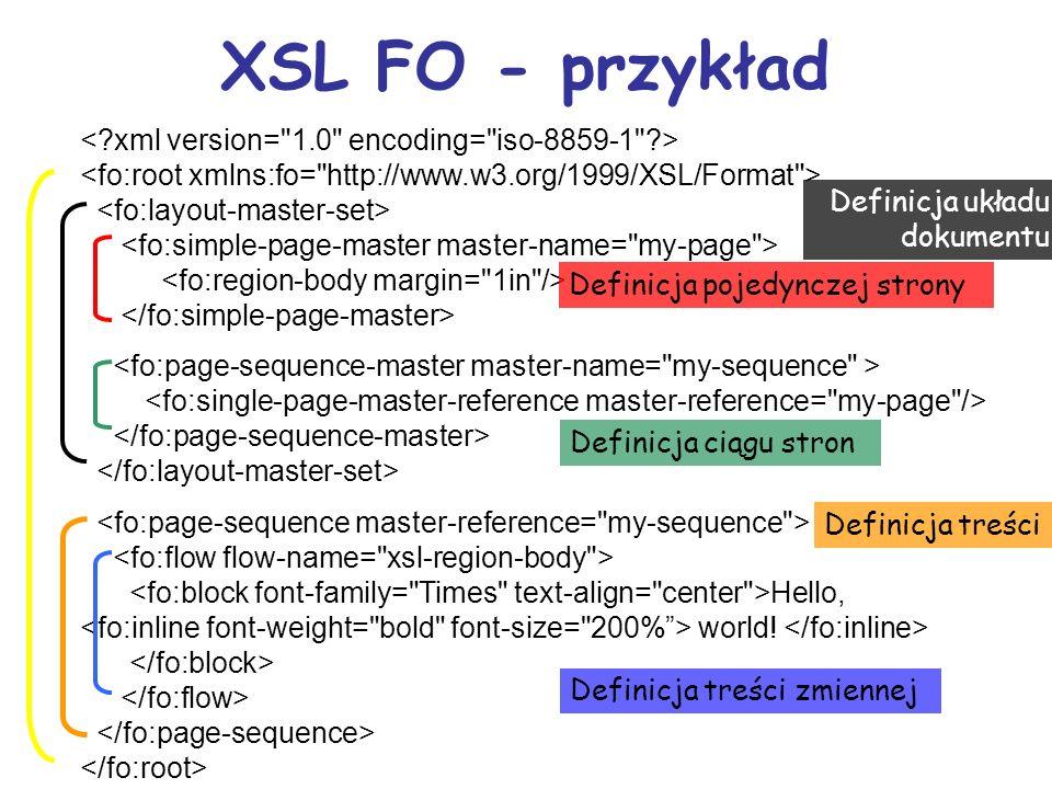 Powstawanie i przetwarzanie FO Dokument XSL FO procesor XSL FO Dokument wyjściowy *.pdf *.rtf wydruk Dokument XML Dokument XSLT procesor XSLT.xml *.xsl *.fo Narzędzia przetwarzające FO