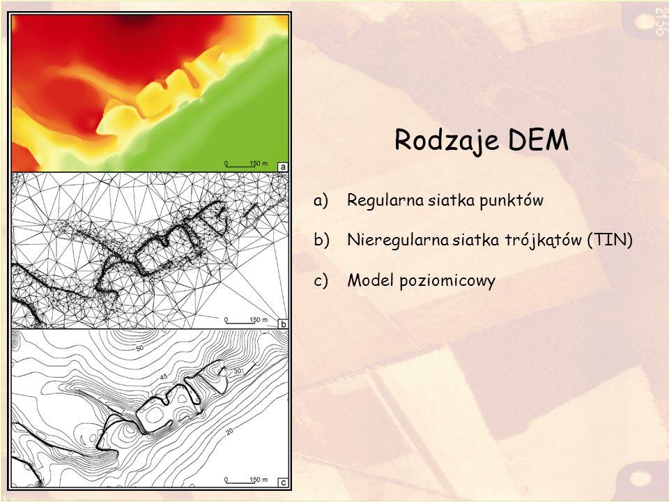 Produkty uzyskane z DEM mapa poziomicowa – ukazująca rzeźbę powierzchni terenu przy pomocy izohips (wersja poziomicowa), barwnych powierzchni pomiędzy poszczególnymi poziomicami (mapa hipsometryczna) lub w postaci rysunku cienia; mapa spadków terenu – pokazująca obszary o określonym nachyleniu, w zależności od wydzielonych przez użytkownika klas spadków mapa ekspozycji terenu – przedstawiająca orientację terenu w przyjętych przez użytkownika przedziałach azymutów; mapa widoczności – ukazująca obszar terenu widoczny z dowolnie wybranego punktu; profile morfologiczne, tj.