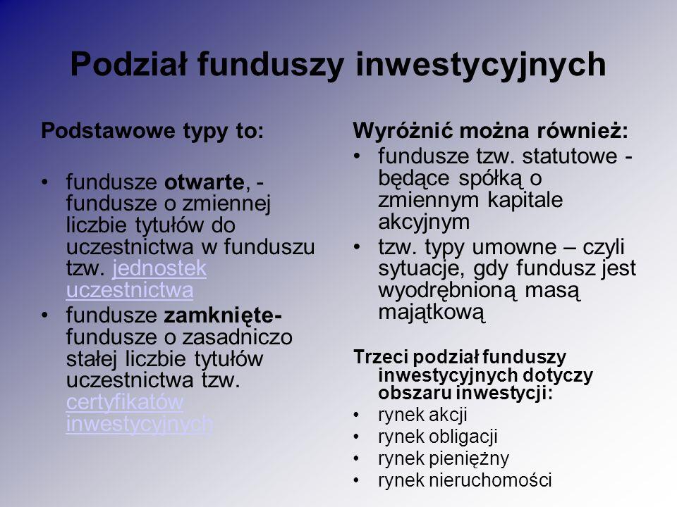 Podział funduszy inwestycyjnych Podstawowe typy to: fundusze otwarte, - fundusze o zmiennej liczbie tytułów do uczestnictwa w funduszu tzw.