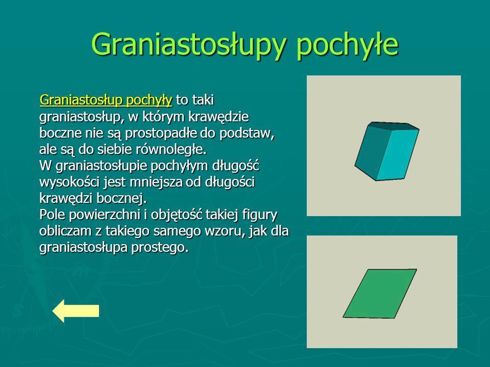 Graniastosłupy pochyłe Graniastosłup pochyły to taki graniastosłup, w którym krawędzie boczne nie są prostopadłe do podstaw, ale są do siebie równoległe.