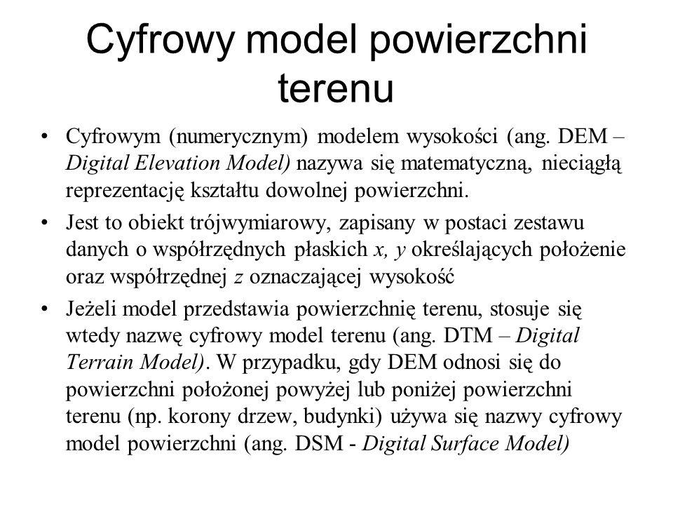 Cyfrowy model powierzchni terenu Cyfrowym (numerycznym) modelem wysokości (ang. DEM – Digital Elevation Model) nazywa się matematyczną, nieciągłą repr