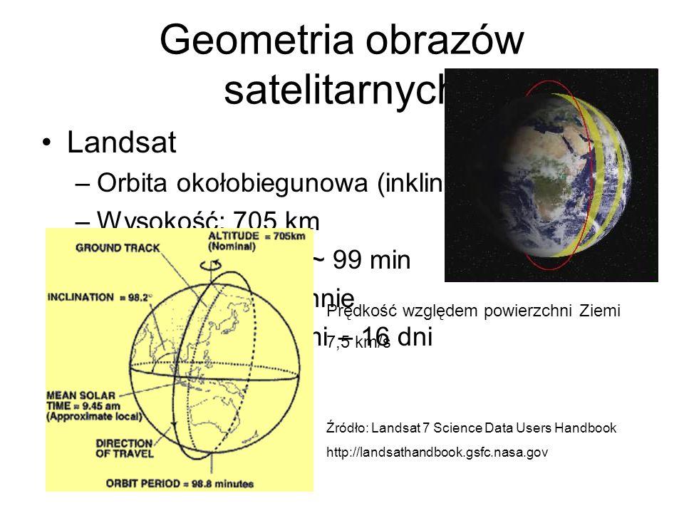Geometria obrazów satelitarnych Landsat –Orbita okołobiegunowa (inklinacja 98,2 o ) –Wysokość: 705 km –Czas 1 okrążenia ~ 99 min –14,5 okrążeń dzienni