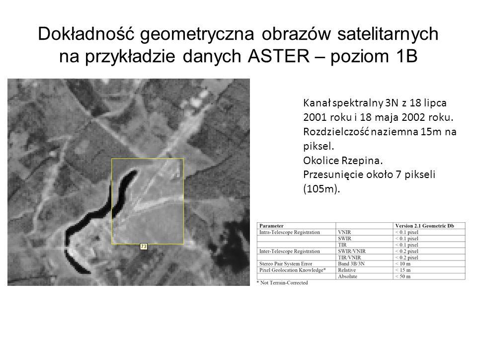 Dokładność geometryczna obrazów satelitarnych na przykładzie danych ASTER – poziom 1B Kanał spektralny 3N z 18 lipca 2001 roku i 18 maja 2002 roku. Ro