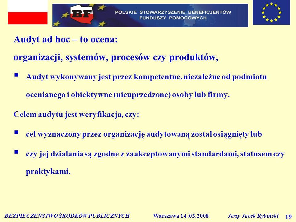 BEZPIECZEŃSTWO ŚRODKÓW PUBLICZNYCH Warszawa 14.03.2008 Jerzy Jacek Rybiński 19 Audyt ad hoc – to ocena: organizacji, systemów, procesów czy produktów, Audyt wykonywany jest przez kompetentne, niezależne od podmiotu ocenianego i obiektywne (nieuprzedzone) osoby lub firmy.