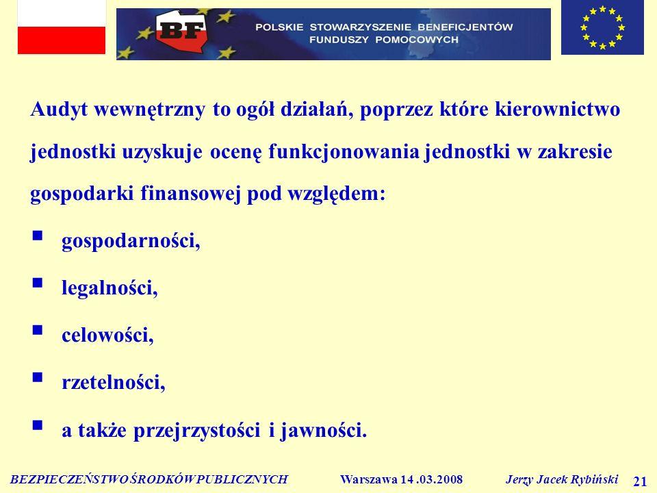 BEZPIECZEŃSTWO ŚRODKÓW PUBLICZNYCH Warszawa 14.03.2008 Jerzy Jacek Rybiński 21 Audyt wewnętrzny to ogół działań, poprzez które kierownictwo jednostki