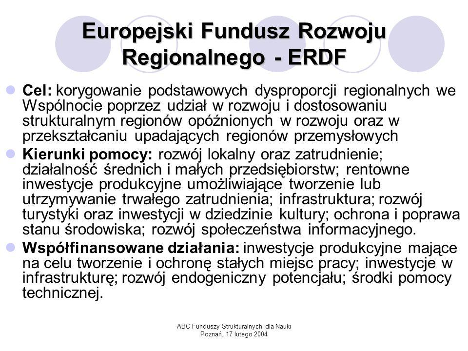 ABC Funduszy Strukturalnych dla Nauki Poznań, 17 lutego 2004 Europejski Fundusz Rozwoju Regionalnego - ERDF Cel: korygowanie podstawowych dysproporcji regionalnych we Wspólnocie poprzez udział w rozwoju i dostosowaniu strukturalnym regionów opóźnionych w rozwoju oraz w przekształcaniu upadających regionów przemysłowych Kierunki pomocy: rozwój lokalny oraz zatrudnienie; działalność średnich i małych przedsiębiorstw; rentowne inwestycje produkcyjne umożliwiające tworzenie lub utrzymywanie trwałego zatrudnienia; infrastruktura; rozwój turystyki oraz inwestycji w dziedzinie kultury; ochrona i poprawa stanu środowiska; rozwój społeczeństwa informacyjnego.