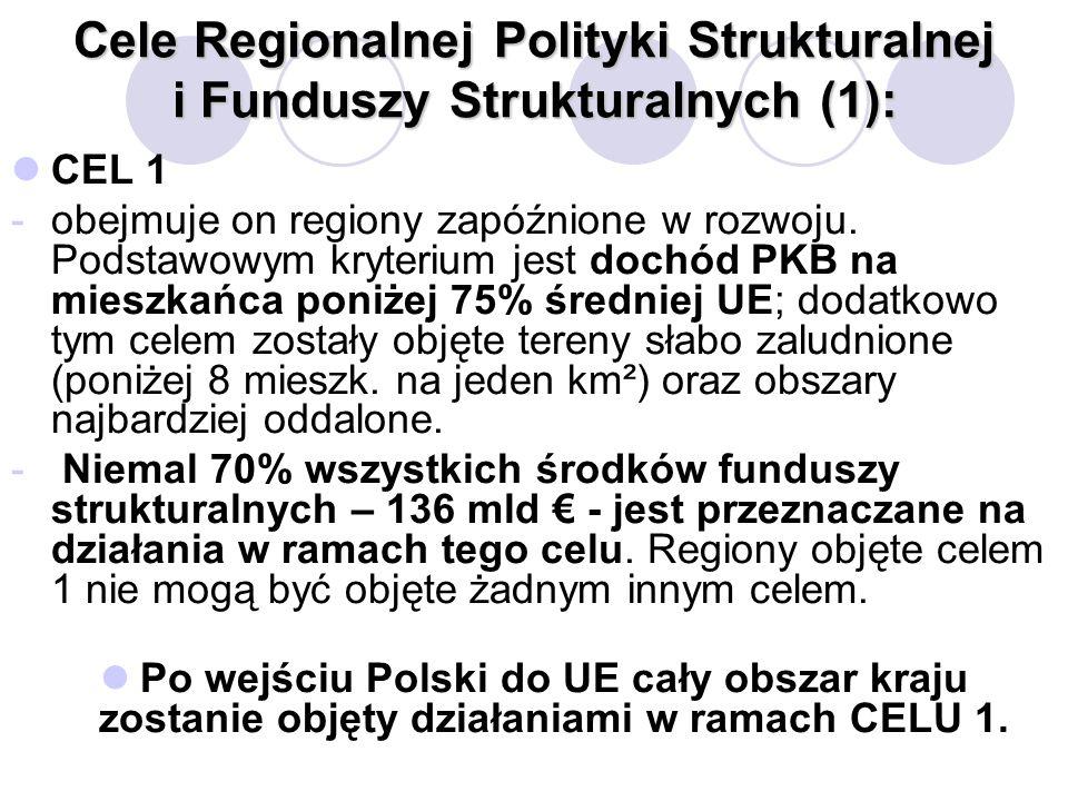 ABC Funduszy Strukturalnych dla Nauki Poznań, 17 lutego 2004 Cele Regionalnej Polityki Strukturalnej i Funduszy Strukturalnych (2): CEL 2 - odbudowa terenów silnie uzależnionych od upadających gałęzi gospodarki.