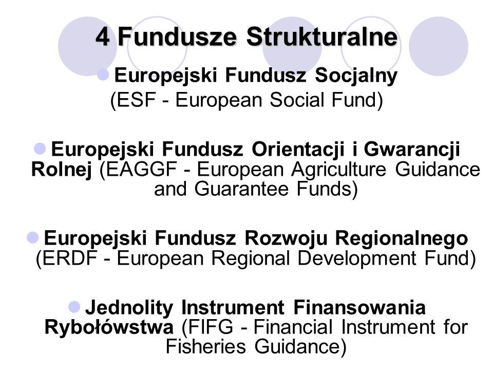 4 Fundusze Strukturalne Europejski Fundusz Socjalny (ESF - European Social Fund) Europejski Fundusz Orientacji i Gwarancji Rolnej (EAGGF - European Agriculture Guidance and Guarantee Funds) Europejski Fundusz Rozwoju Regionalnego (ERDF - European Regional Development Fund) Jednolity Instrument Finansowania Rybołówstwa (FIFG - Financial Instrument for Fisheries Guidance)