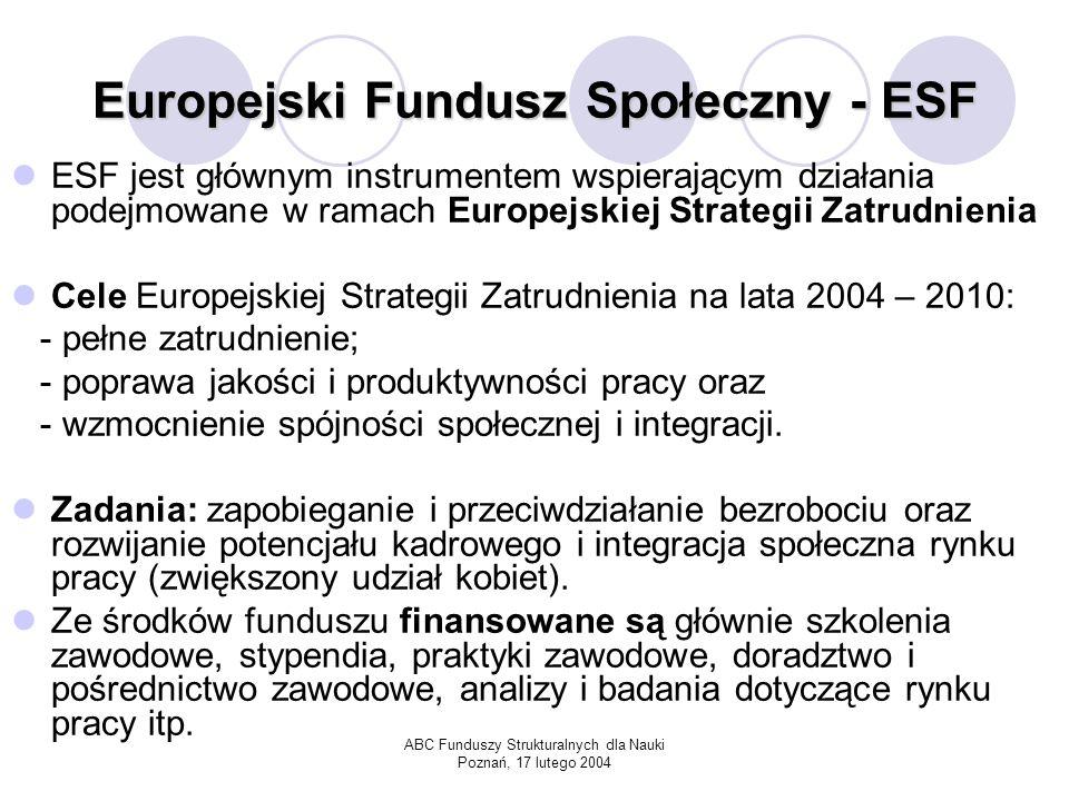 ABC Funduszy Strukturalnych dla Nauki Poznań, 17 lutego 2004 Europejski Fundusz Orientacji i Gwarancji Rolnej – EAGGF Cel: Zajmuje się wspieraniem przekształceń struktury rolnictwa oraz wspomaganiem rozwoju obszarów wiejskich.
