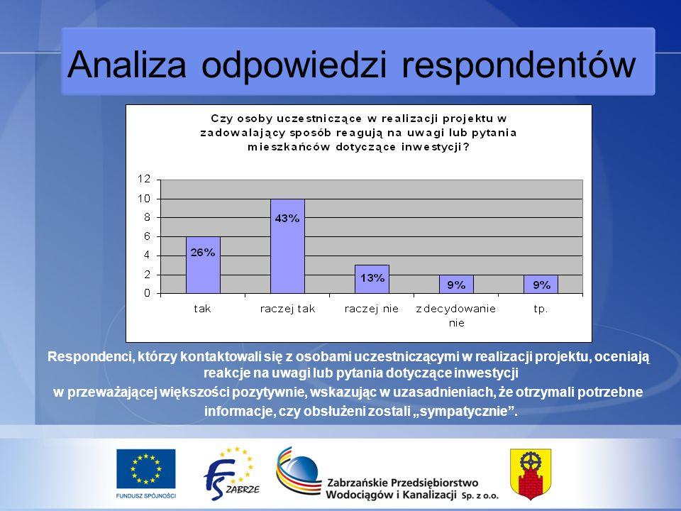 Analiza odpowiedzi respondentów Respondenci, którzy kontaktowali się z osobami uczestniczącymi w realizacji projektu, oceniają reakcje na uwagi lub pytania dotyczące inwestycji w przeważającej większości pozytywnie, wskazując w uzasadnieniach, że otrzymali potrzebne informacje, czy obsłużeni zostali sympatycznie.